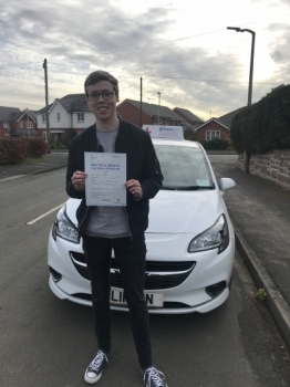 Well done to Harry passing his test in Wrexham with 8 minors. Such a pleasure to teach. Wishing you all the best and safe driving 🚘